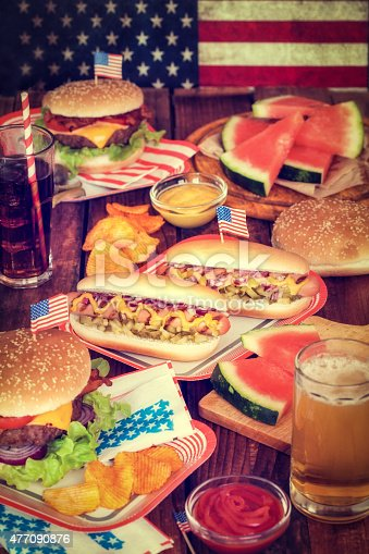 534317162 istock photo July 4th or Memorial Day - Picnic Table with Food 477090876