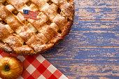 US flag on a latice crust apple pie