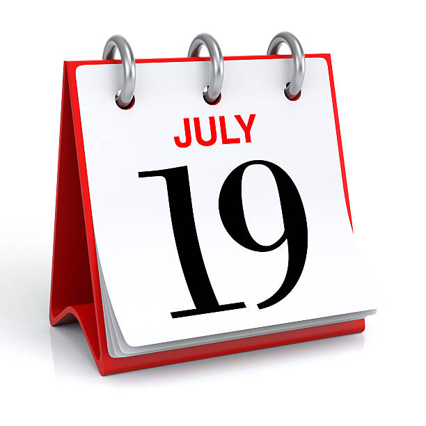 july calendar - number 19 stock photos and pictures