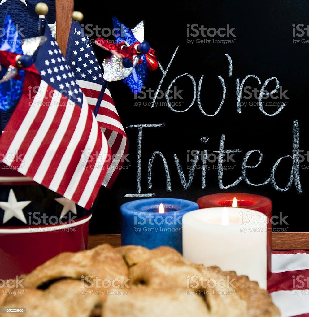 July Fourth Patriotic Party Invitation stock photo