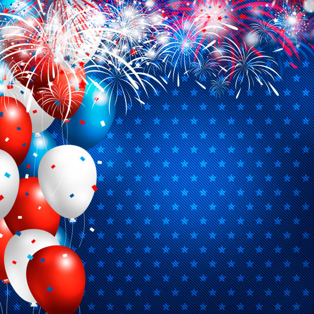 USA 4 july happy independence day design of balloon with firework on blue jeans background stock photo