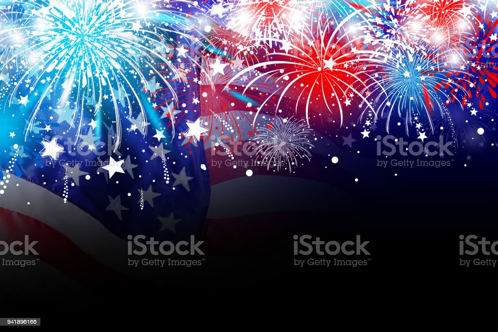 USA 4 july independence day design of america flag with firework background stock photo