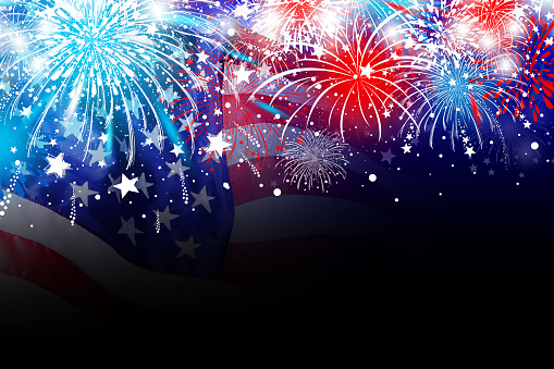 Usa 4 July Independence Day Design Of America Flag With Firework Background Stock Photo - Download Image Now