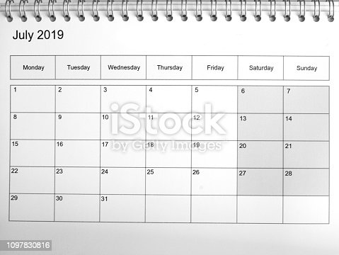 istock 2019 July month printed on a calendar template 1097830816