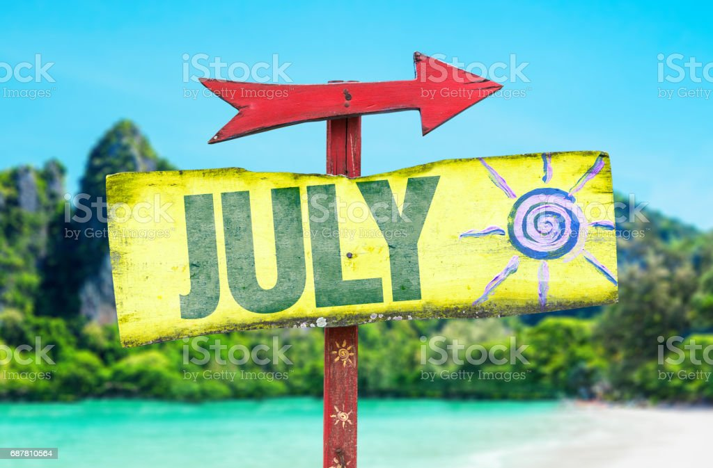 July sign stock photo