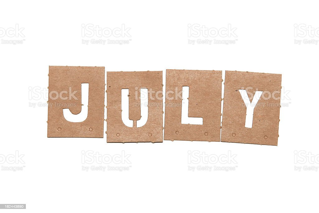 July stencil word royalty-free stock photo