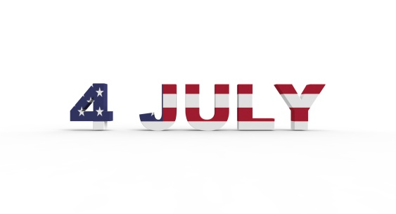 istock 3D 4 July text, with the american flag pride inside 506801049