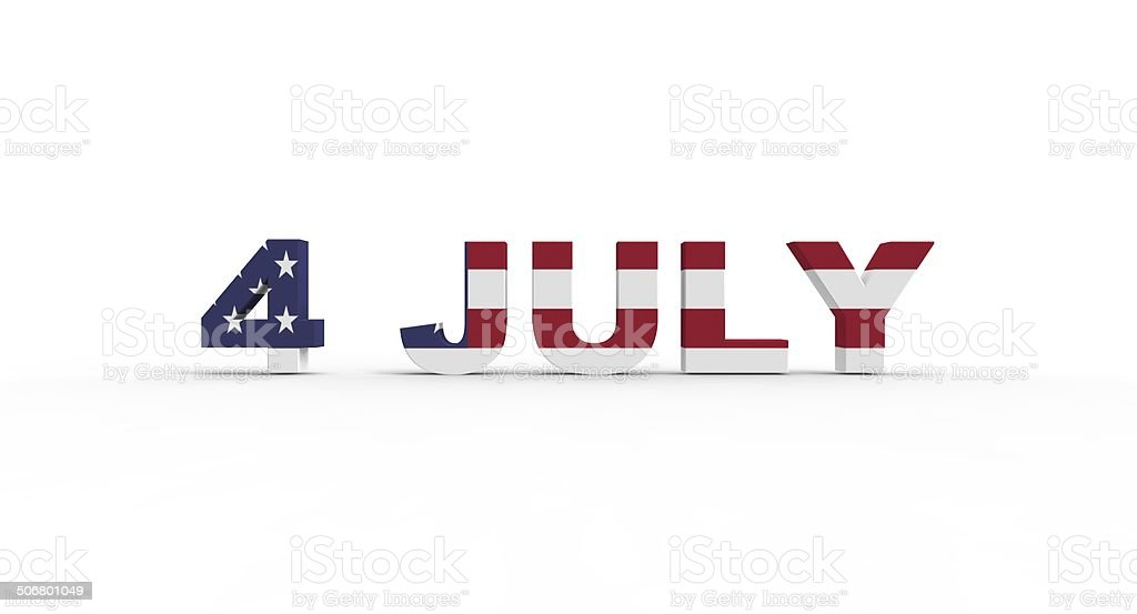 3D 4 July text, with the american flag pride inside stock photo