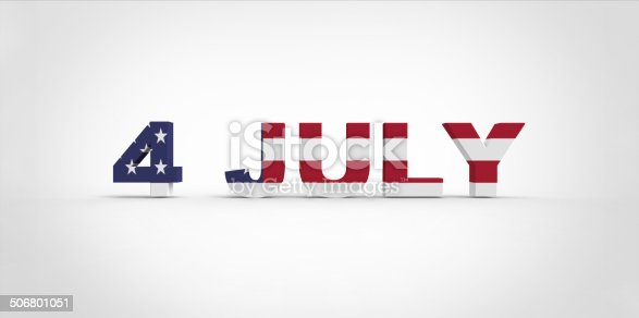 istock 3D 4 July text, with the american flag pride inside 506801051