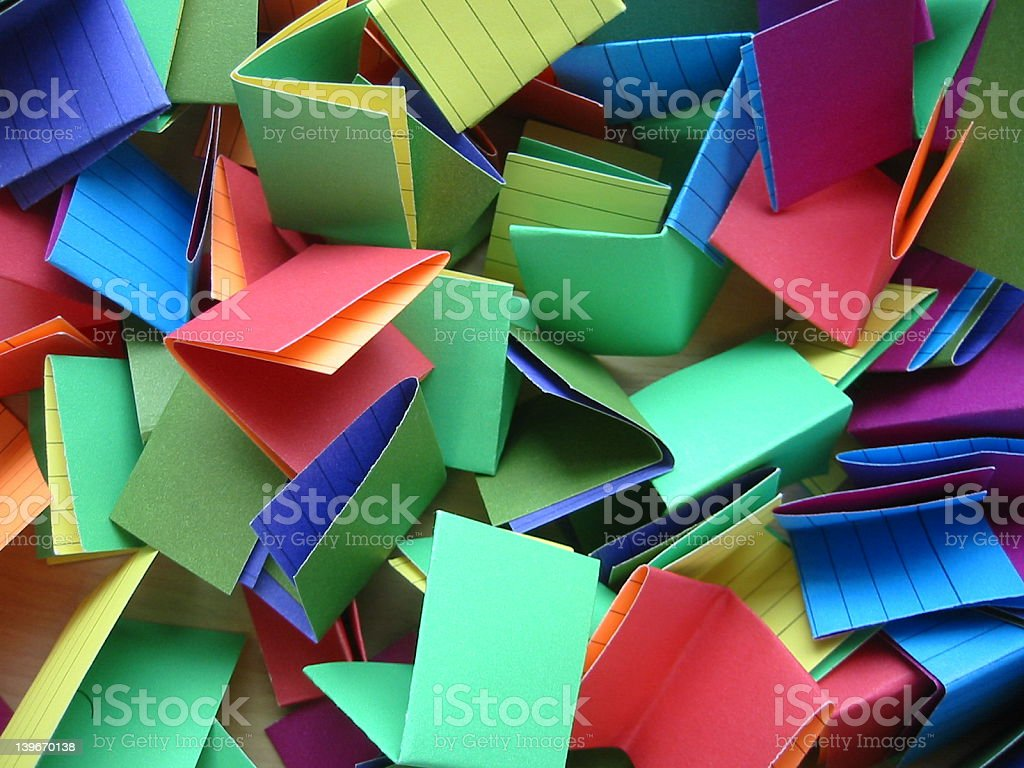 Jumble of Colored, Folded Index Cards royalty-free stock photo