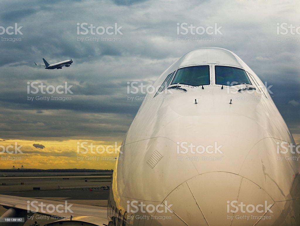 jumbo 747 at the gates stock photo
