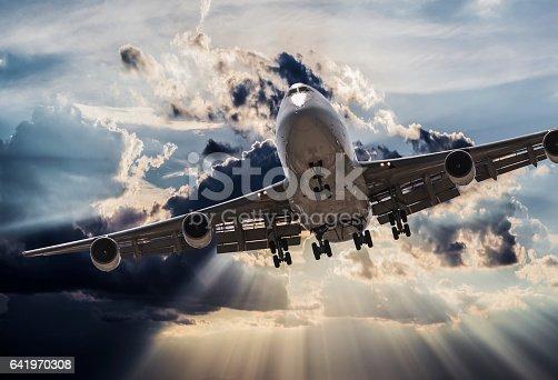 jumbo jet airplane landing in storm