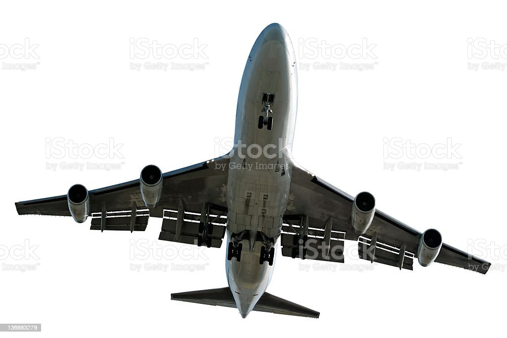 XL jumbo jet airplane landing on white background royalty-free stock photo