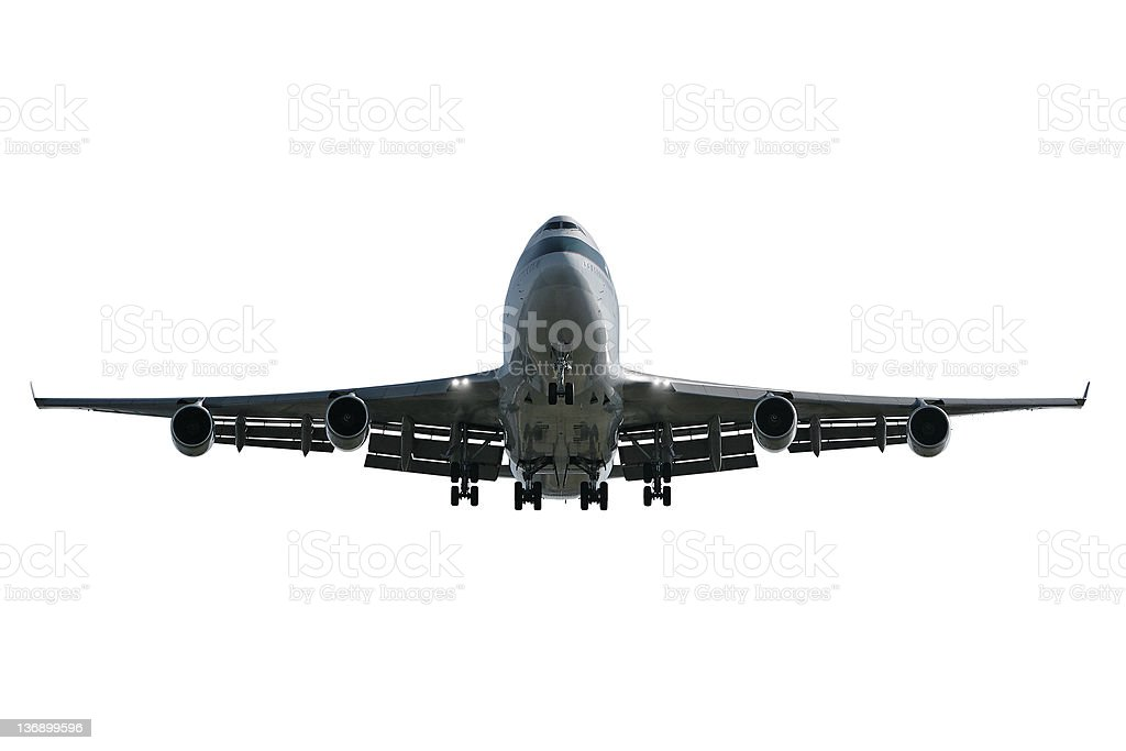 jumbo jet airplane landing on white background royalty-free stock photo