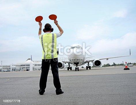 Jumbo jet parking in airport