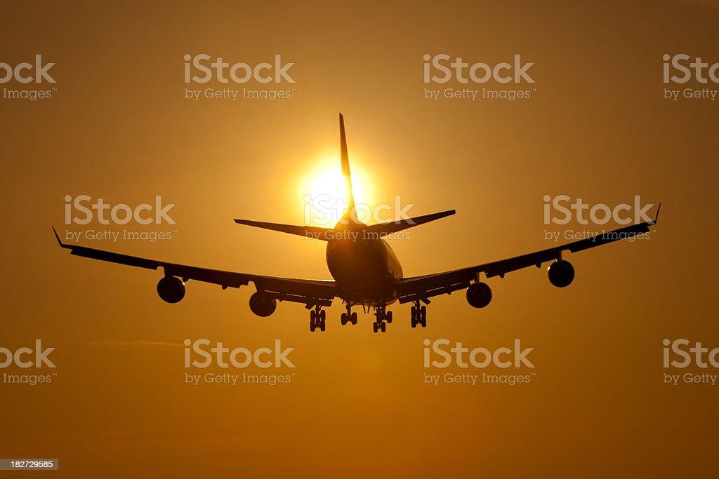 Jumbo Jet Silhouette royalty-free stock photo