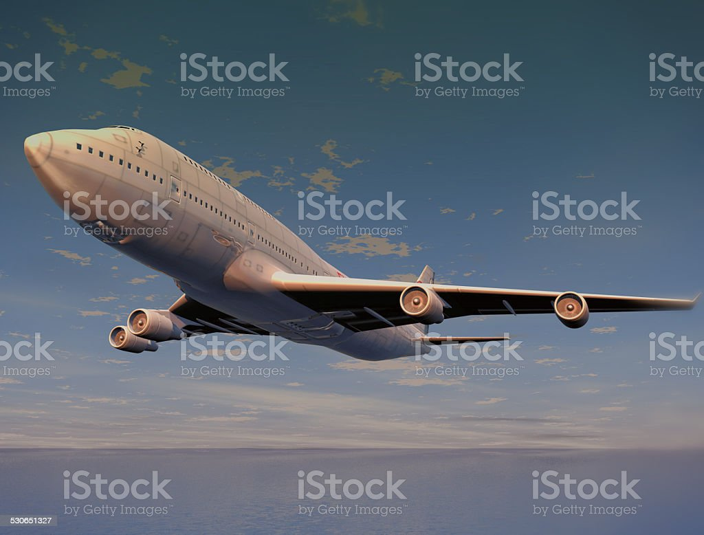 Jumbo jet taking off or landing. High resolution 3D render. stock photo