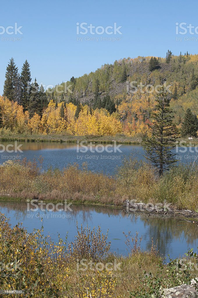 Jumbo Reservoir Autumn Grand Mesa stock photo