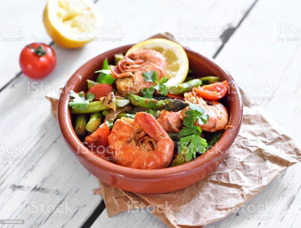 Jumbo Shrimps or prawns and green asparagus stock photo