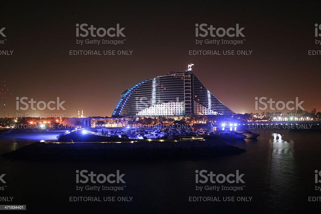 Jumeira Beach Hotel at night, Dubai stock photo