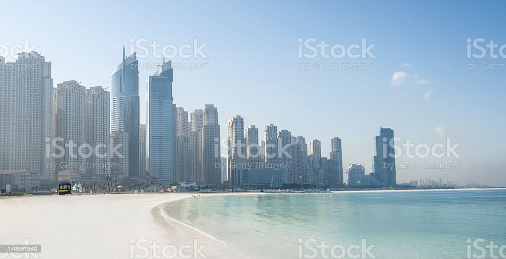 Jumeirah Beach and cityscape royalty-free stock photo