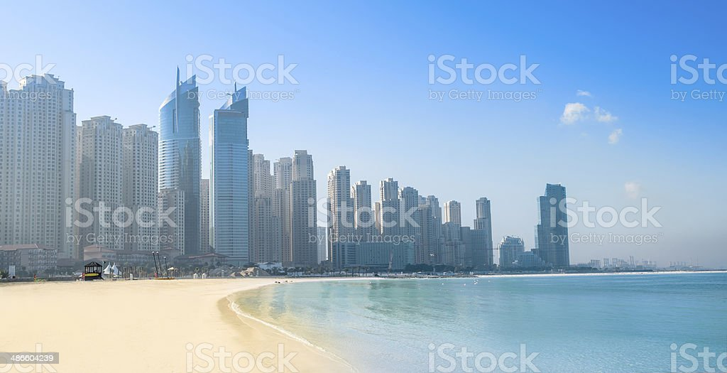Jumeirah beach and cityscape stock photo