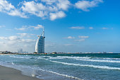 Jumeirah Beach and the famous Burj al Arab hotel. Dubai, UAE United Arab Emirates, January 2017