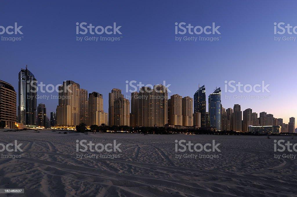 Jumeirah Beach Residence, Marina de Dubai foto de stock libre de derechos