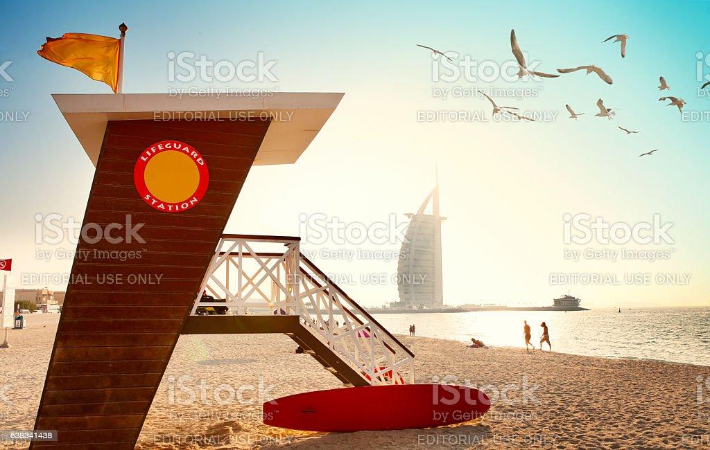 Jumeirah beach with lifeguard hut in Dubai stock photo