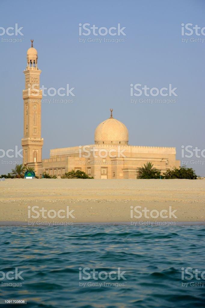 Jumeirah public beach and Mosque in Dubai, UAE stock photo