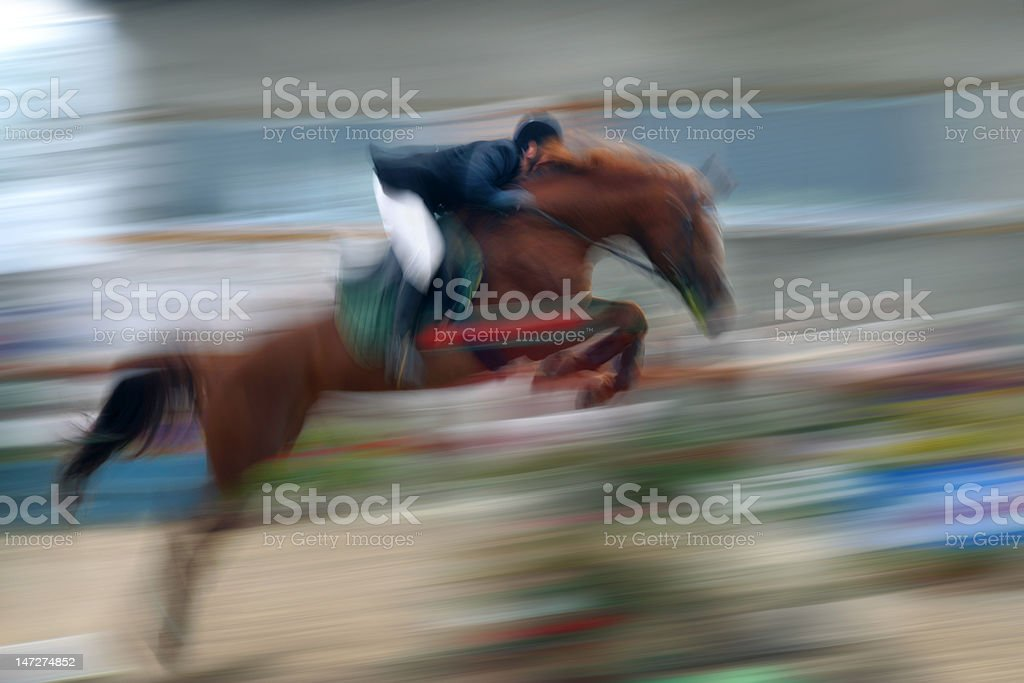 jump a horse through the barrier royalty-free stock photo