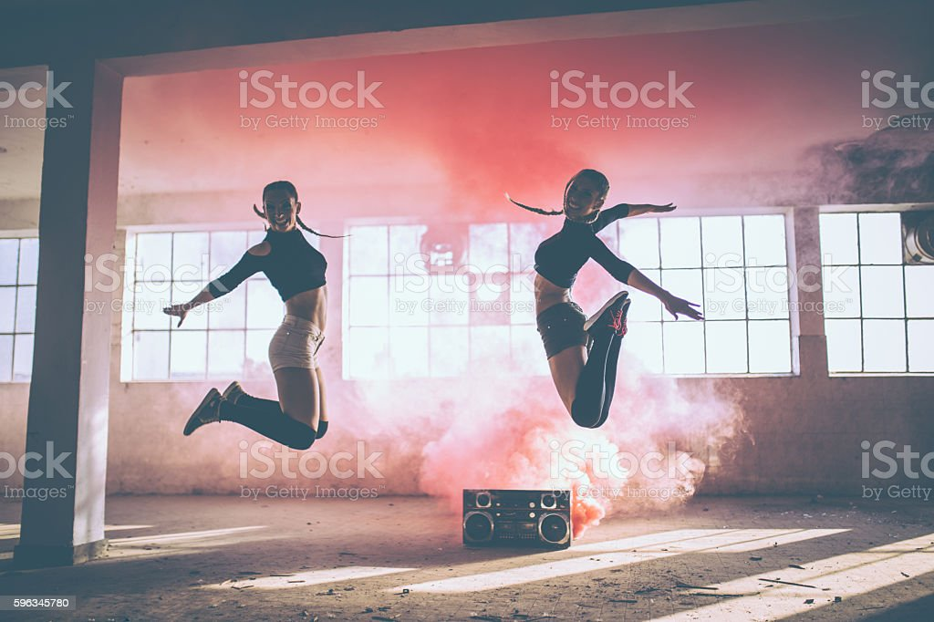 Jump and dance stock photo