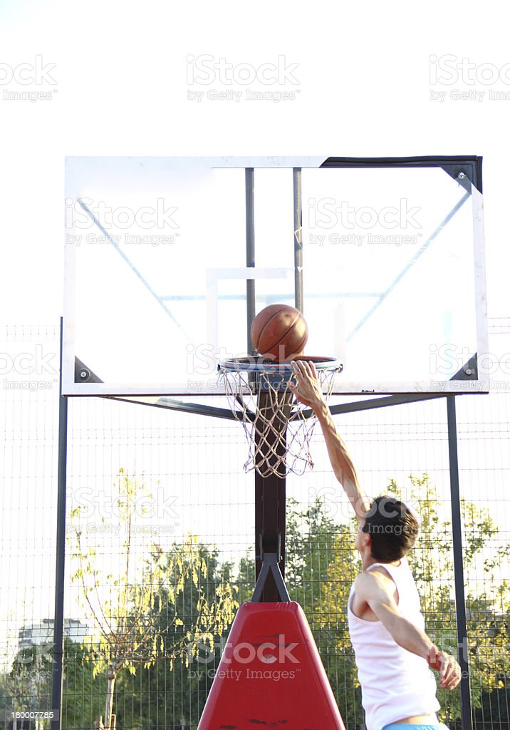 Jump and dunk royalty-free stock photo