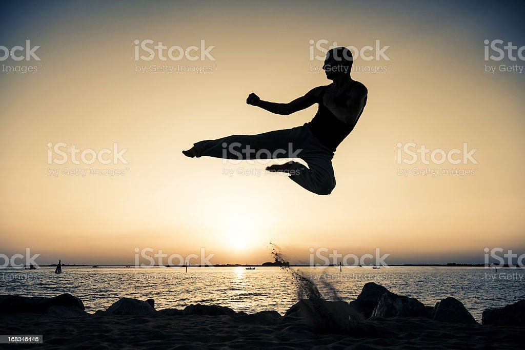 Jump fight man royalty-free stock photo