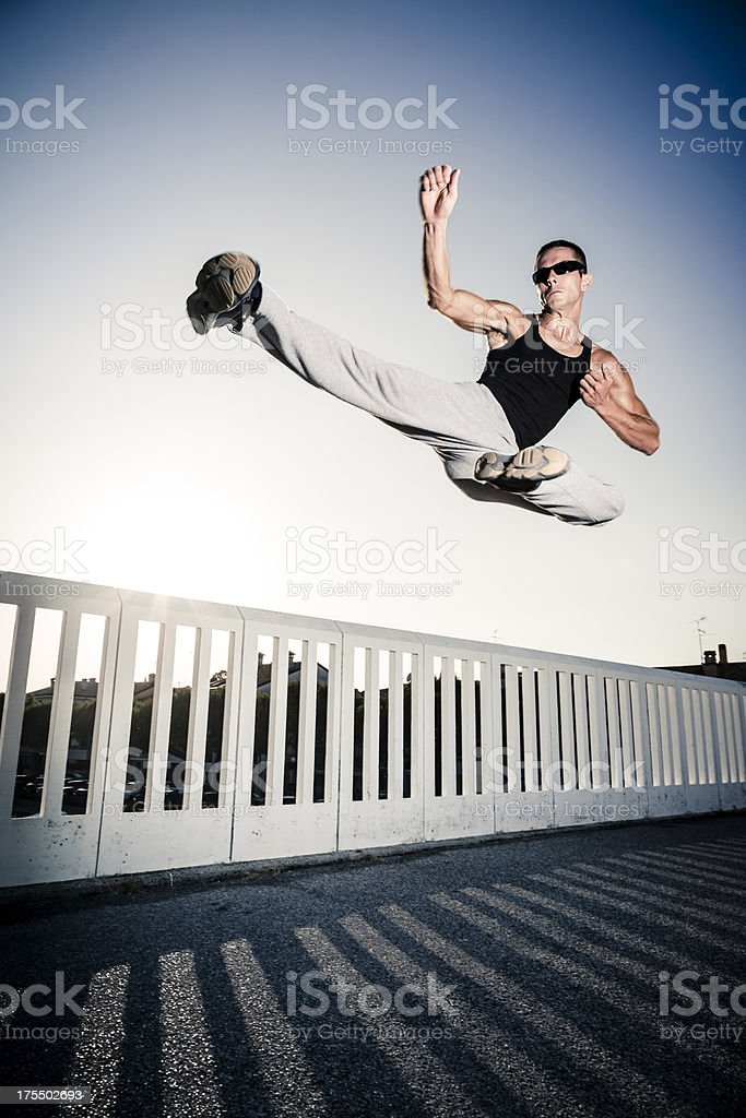 Jump fight man royalty-free stock photo