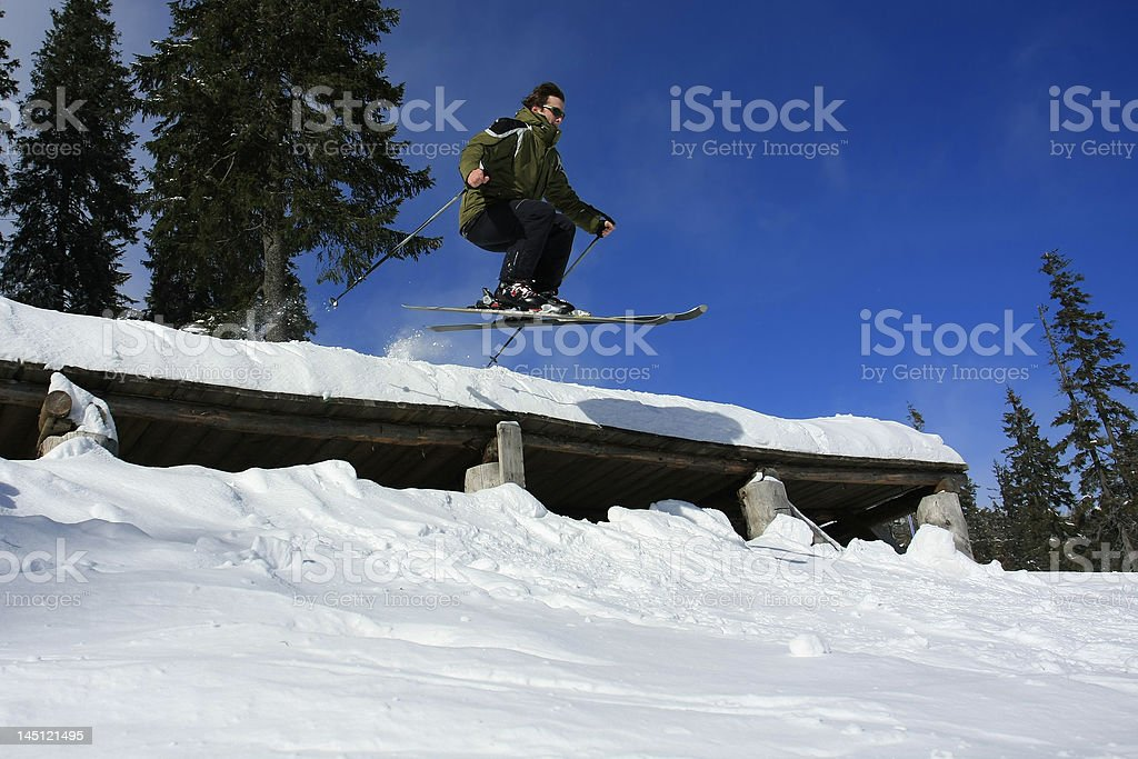 Jump from a cornice stock photo