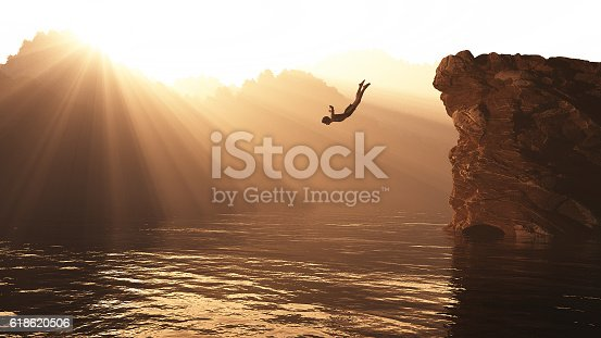 istock Jump from a hill 618620506