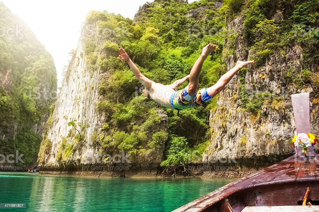 Jump into the Free - Maya Bay / Thailand stock photo