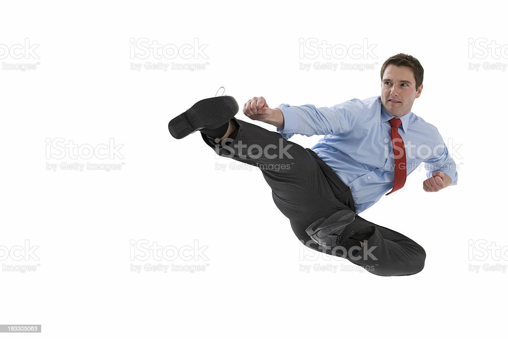 Jump kick stock photo