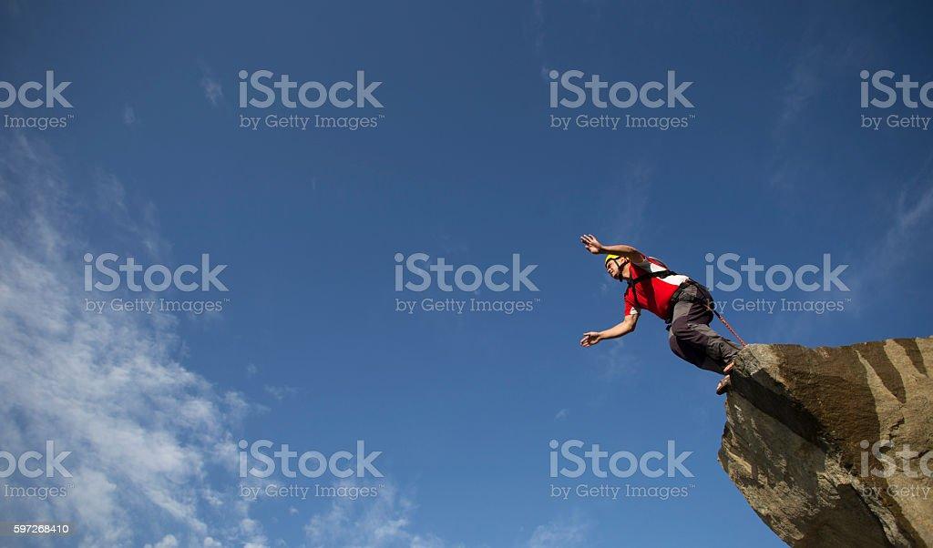 Jump off a cliff. photo libre de droits