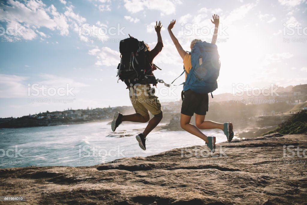 Jump on the cliff royalty-free stock photo