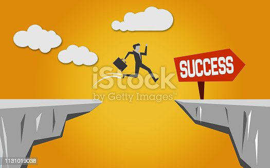 istock Jump over the bridge for success 1131019038