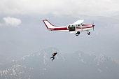Parachutist jumps from a plane