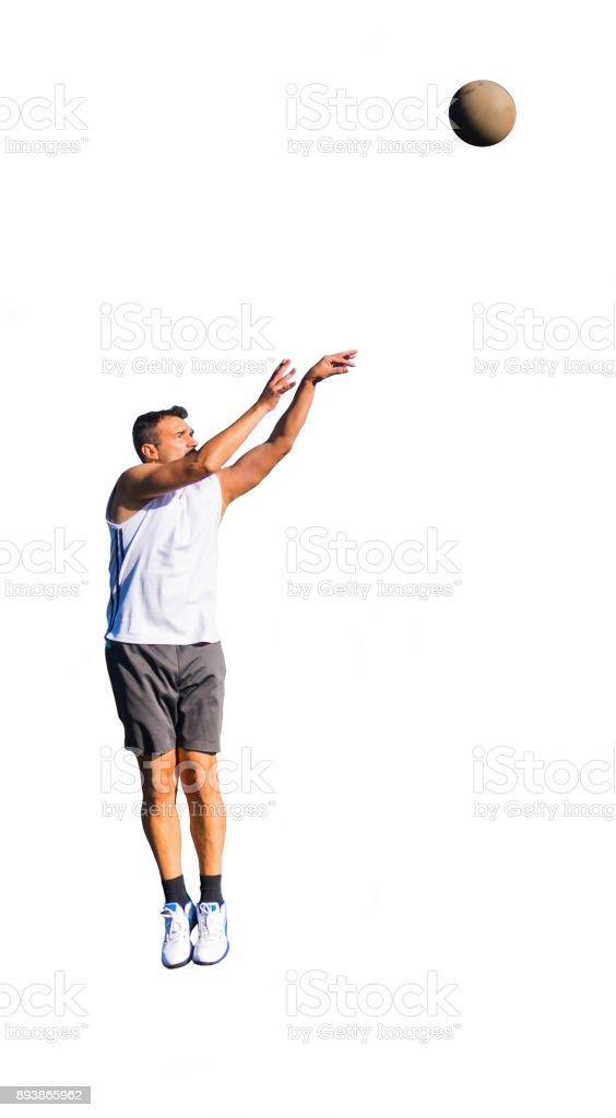 Jump shot isolated on white stock photo