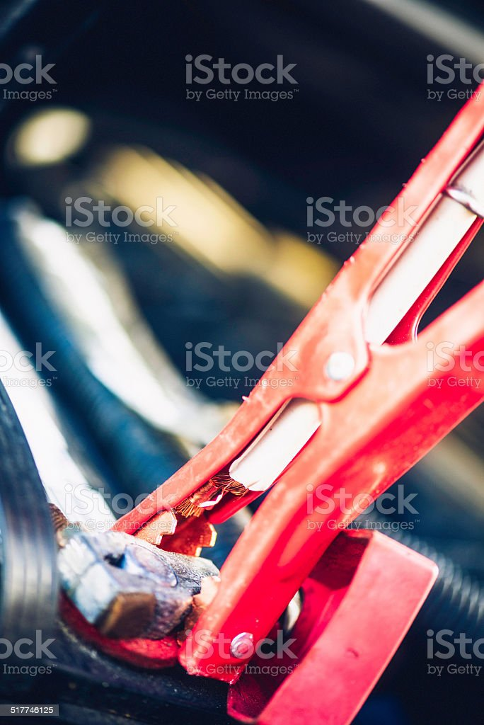 Jump Starting a Car Battery stock photo