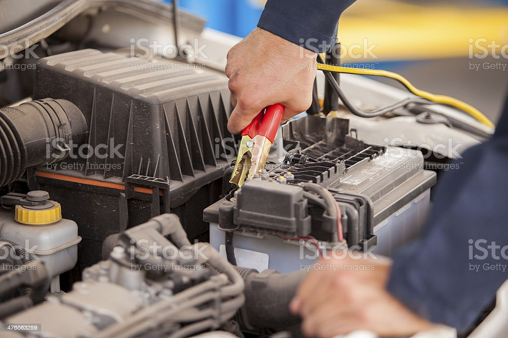 Jump starting a car stock photo