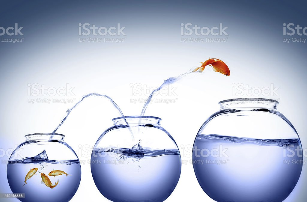 Jump to another level stock photo