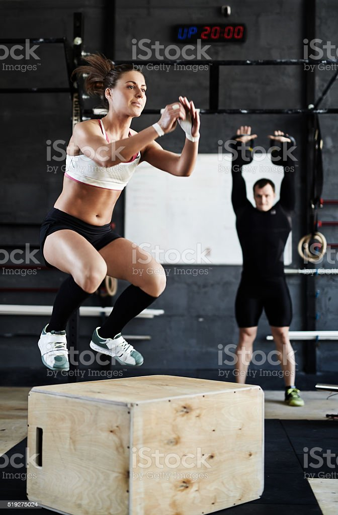 Jump-box in gym stock photo