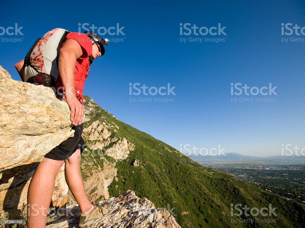 BASE Jumper Preparing to Jump royalty-free stock photo