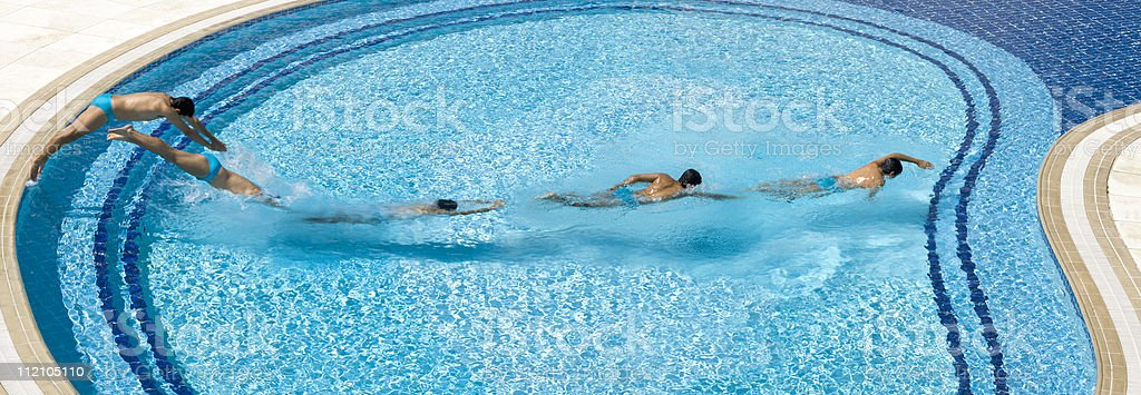 Jumping and swimming royalty-free stock photo